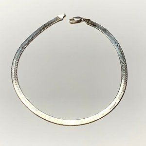 Sterling Silver Herringbone Chain Necklace- Italy